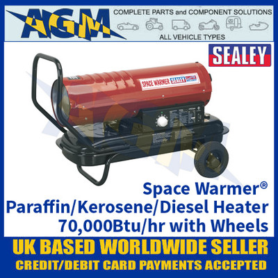 Sealey Space Warmer® Paraffin/Kerosene/Diesel Heater 70,000Btu/hr with Wheels