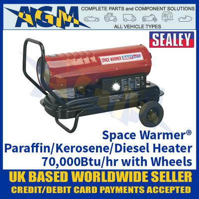 Sealey Space Warmer® Paraffin/Kerosene/Diesel Heater 70,000Btu/hr with Wheels