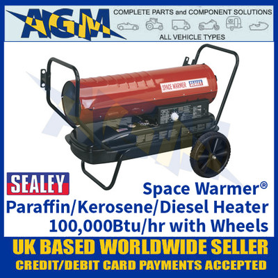 Sealey Space Warmer® Paraffin/Kerosene/Diesel Heater 100,000Btu/hr with Wheels