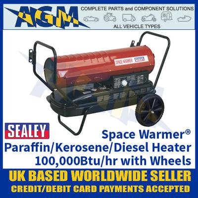 Sealey Space Warmer® Paraffin/Kerosene/Diesel Heater 100,000Btu/hr with Wheels
