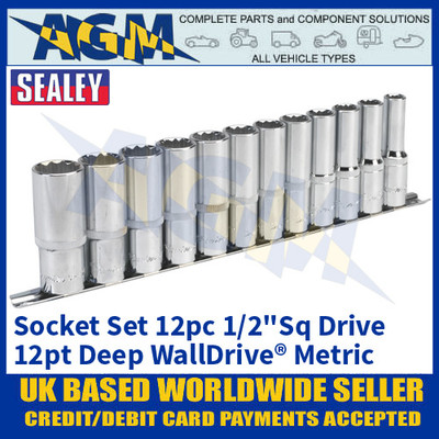 """Sealey AK2685 Socket Set 12pc 1/2""""Sq Drive 12pt Deep WallDrive® Metric"""