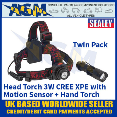 Head Torch 3W CREE XPE with Motion Sensor + Hand Torch 3W CREE XPE Twin Pack
