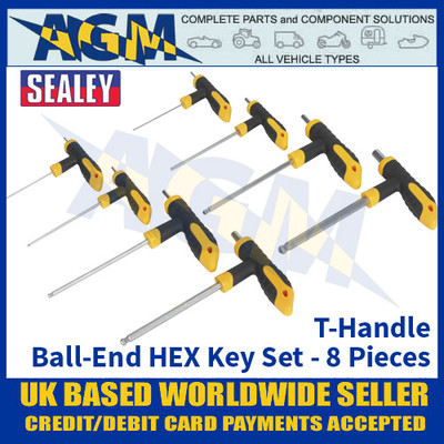 Sealey S01069 T-Handle Ball-End Hex Key Set - 8pc Set - Storage Case