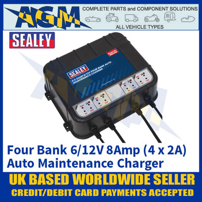 Sealey MBC420 Four Bank 6/12V 8Amp (4 x 2A) Auto Maintenance Charger