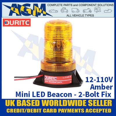 Durite 0-445-75 12 to 110V Mini LED Amber Beacon - 2-Bolt Fix