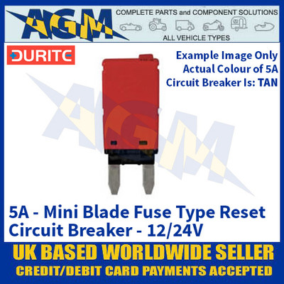 Durite 0-380-55 Mini Blade Fuse Type Manual Reset Circuit Breaker - 5A - 12/24V