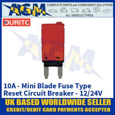 Durite 0-380-60 Mini Blade Fuse Type Manual Reset Circuit Breaker - 10A - 12/24V