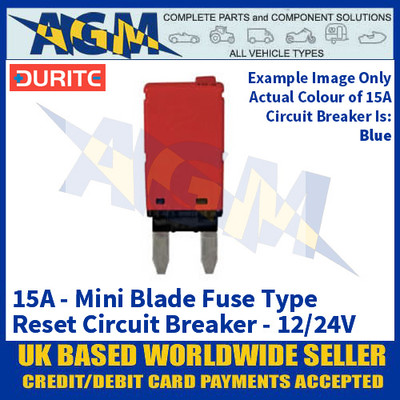 Durite 0-380-65 Mini Blade Fuse Type Manual Reset Circuit Breaker - 15A - 12/24V