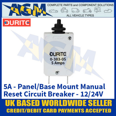 Durite 0-383-05 Panel/Base Mount Manual Reset Circuit Breaker - 5A - 12/24V