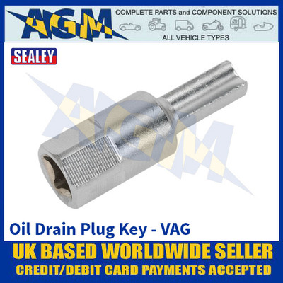 "Sealey VS652 Oil Drain Plug Key - VAG - 1/4"" Square Drive"