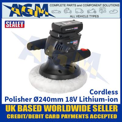 Sealey CP2518L Cordless Polisher Ø240mm 18V Lithium-ion