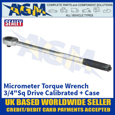 "Sealey AK628 Micrometer Torque Wrench 3/4""Sq Drive Calibrated"
