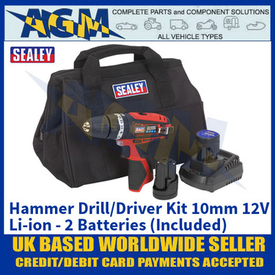 Sealey CP1201KIT Hammer Drill/Driver Kit 10mm 12V Li-ion - 2 Batteries