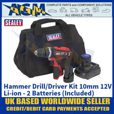 Sealey CP1201KIT Hammer Drill/Driver Kit 10mm 12V Li-ion - 2 Batteries