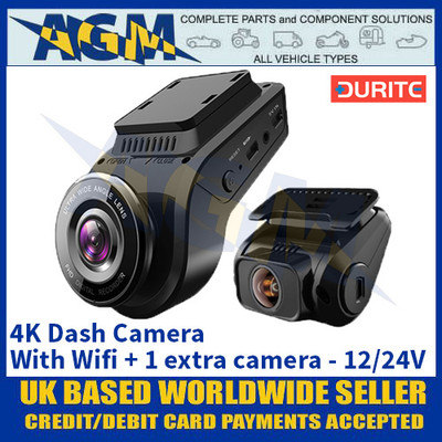 Durite 0-775-44 4K Dash Camera With Wifi + 1 Extra Camera - 12/24V