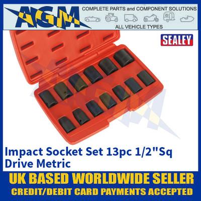 """Sealey AK5613M Impact Socket Set 13pc 1/2""""Sq Drive Metric"""