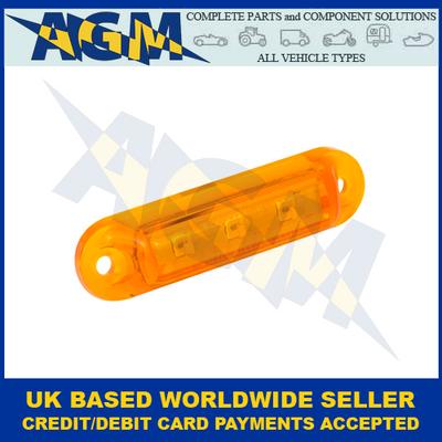 LED Autolamps, 16A24B, Amber Side Marker Lamp, 24v