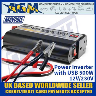 Maypole MP56050 Power Inverter with USB 500W - 12V/230V