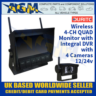 Durite 0-775-59 4-CH QUAD Monitor with Integral DVR with 4 Cameras