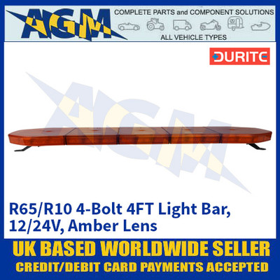 Durite 0-443-49 R65/R10 4-Bolt 4FT Light Bar - 12/24V, Amber Lens