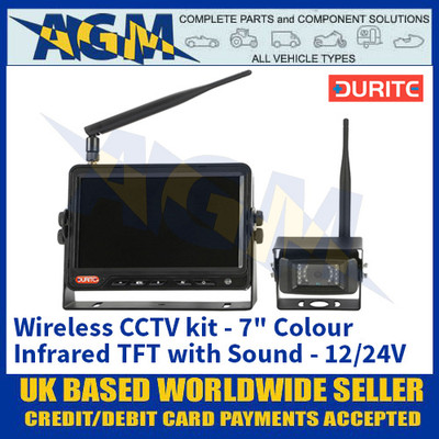 "Durite 0-775-39 Wireless CCTV kit - 7"" Colour Infrared TFT with Sound - 12/24V"