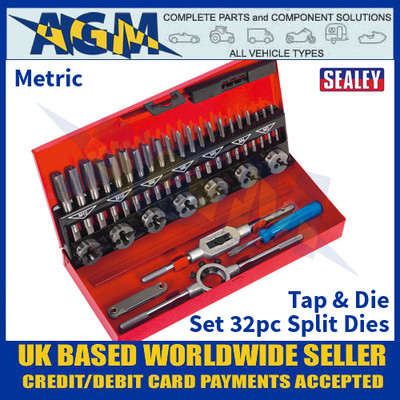 Sealey AK3015 Tap & Die Set 32pc Split Dies - Metric