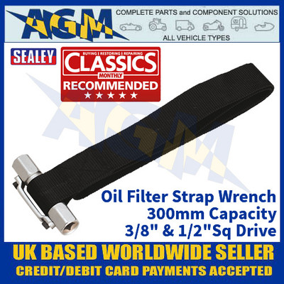 """Sealey AK6403 Oil Filter Strap Wrench 300mm Capacity 3/8"""" & 1/2""""Sq Drive"""