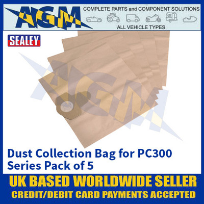 Sealey PC300PB5 Dust Collection Bag for PC300 Series Pack of 5