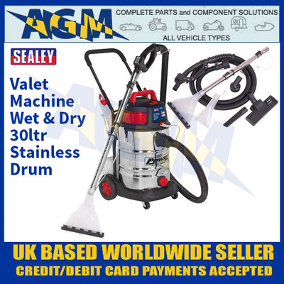 Sealey VMA915 Valet Machine Wet & Dry 30ltr Stainless Drum