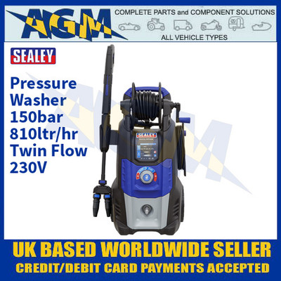 Sealey PWTF2200 Pressure Washer 150bar 810ltr/hr Twin Flow 230V