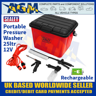 Sealey PW2012R Portable Pressure Washer 25ltr - Rechargeable 12v Powered