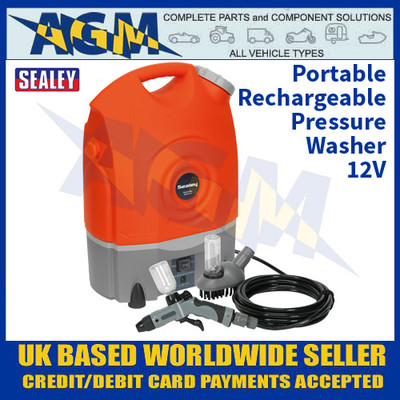 Sealey PW1712 Portable Cordless Pressure Washer - Rechargeable 12v Powered