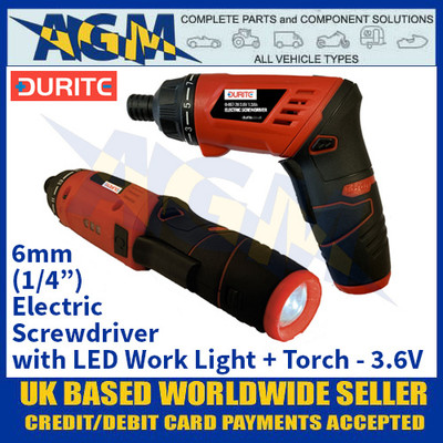 "Durite 0-467-20 3.6V 6mm (1/4"") Screwdriver with LED Work Light and Torch"
