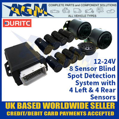 Durite 0-870-40 8 Sensor Blind Spot Detection System With 4 Left & 4 Rear Sensors - 12-24V