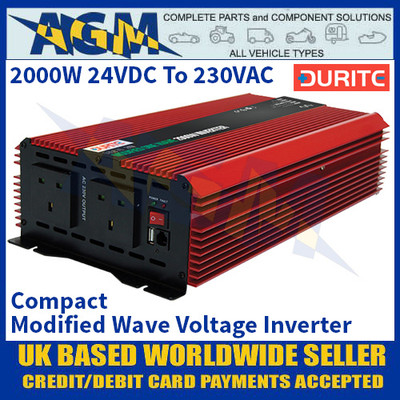 Durite 0-856-76 2000W 24VDC to 230VAC Compact Modified Wave Voltage Inverter