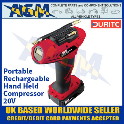 Durite 0-674-20 Portable Rechargeable Hand Held Compressor- 20V