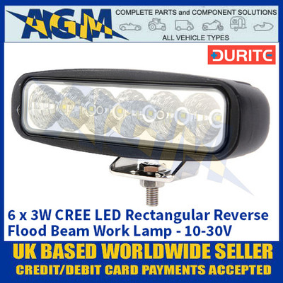 Durite 0-420-38 6 x 3W CREE LED Rectangular Reverse Flood Beam Work Lamp - 10-30V