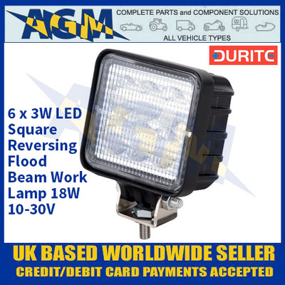 Durite 0-420-39 6 x 3W LED Square Reversing Flood Beam Work Lamp 18W - 10-30V