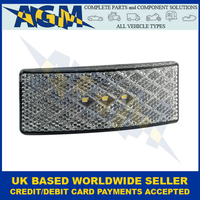 LED Autolamps EU38BWM, Black, Low-Profile, White Side Marker Lamp, 12/24V