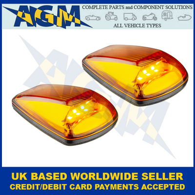 LED Autolamps 77AM2, Amber Lens, Compact, Amber, Side Direction Indicator, Twin Pack