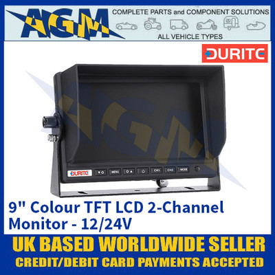 "Durite 0-775-31 9"" Colour TFT LCD 2-Channel Monitor - 12/24V"