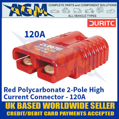 Durite 0-432-20 Red Polycarbonate 2-Pole High Current Connector - 120A