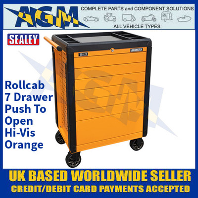 Sealey APPD7O Rollcab 7 Drawer Push-To-Open Hi-Vis Orange
