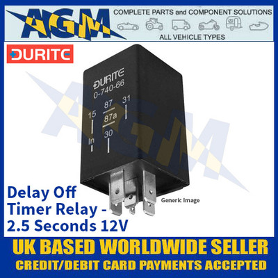 Durite 0-740-42 Delay Off Timer Relay - 2.5 Seconds 12V