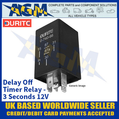 Durite 0-740-43 Delay Off Timer Relay - 3 Seconds 12V