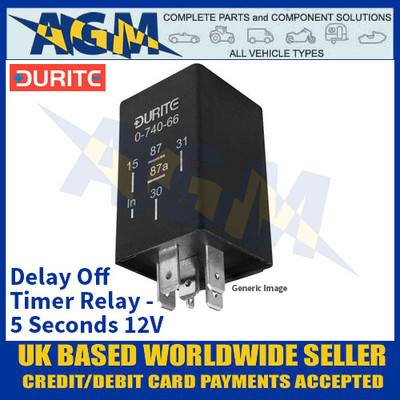 Durite 0-740-45 Delay Off Timer Relay - 5 Seconds 12V