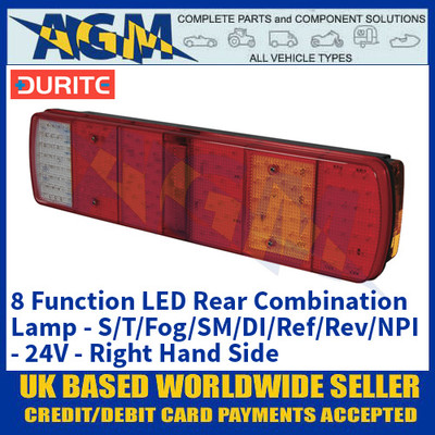 Durite 0-069-50 8 Function LED Rear Combination Lamp - Commercial Vehicles - 24V - RHS