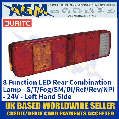 Durite 0-069-50 8 Function LED Rear Combination Lamp - Commercial Vehicles - 24V - LHS