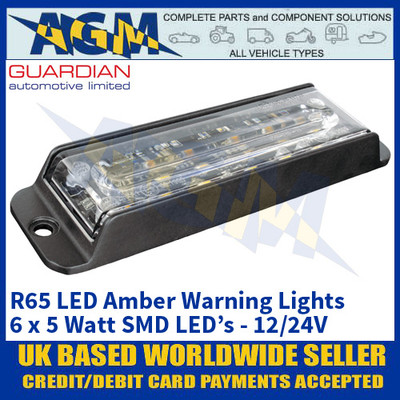 Guardian Automotive LED22A R65 LED Amber Warning Light - 12/24V