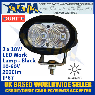 Durite 0-420-61 2 x 10W LED Work Lamp - Black, 10-60V, 2000lm, IP67
